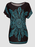 ByChicStyle Tribal Printed Round Neck Short Sleeve T-Shirt - Bychicstyle.com