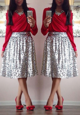 Silver Sequin Pleated Plus Size Elastic Waist Party Skirt