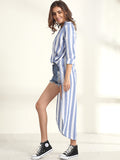 ByChicStyle Casual Asymmetrical Hems Deep V-neck Striped Blouse