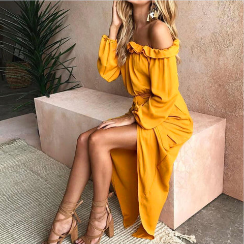 Casual Yellow Long Sleeve Off-the-shoulder Split-side Maxi Dress