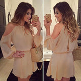 ByChicStyle Apricot Cut Out Draped Round Neck Long Sleeve Casual Loose Midi Dress