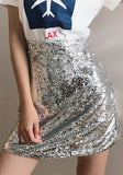 ByChicStyle Silver Sequin Zipper High Waisted Above Knee Skirt