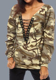 ByChicStyle Yellow Camouflage Drawstring Pockets Long Sleeve Sweatshirt