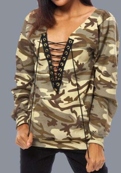 Yellow Camouflage Drawstring Pockets Long Sleeve Sweatshirt