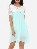 ByChicStyle Casual Round Neck Dacron Lace Patchwork Seethrough Shift-dress