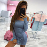 ByChicStyle Casual Blue Bandeau Boat Neck Long Sleeve Off Shoulder Bodycon Fashion Mini Dress