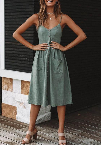 Pea Green Condole Belt Pockets Single Breasted V-neck Fashion Midi Dress