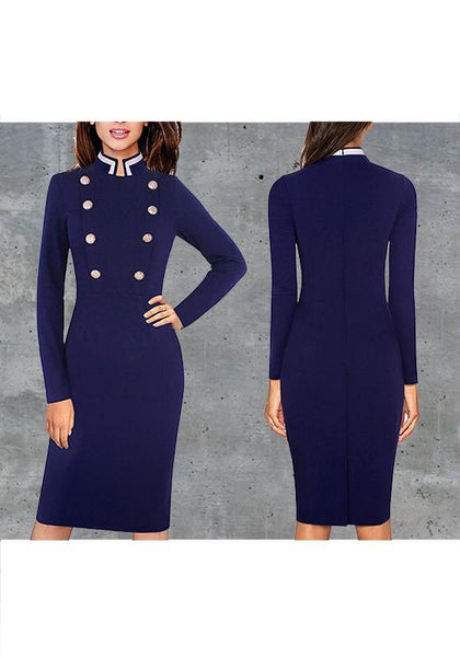 Dark Blue Plain Buttons Band Collar Fashion Midi Dress