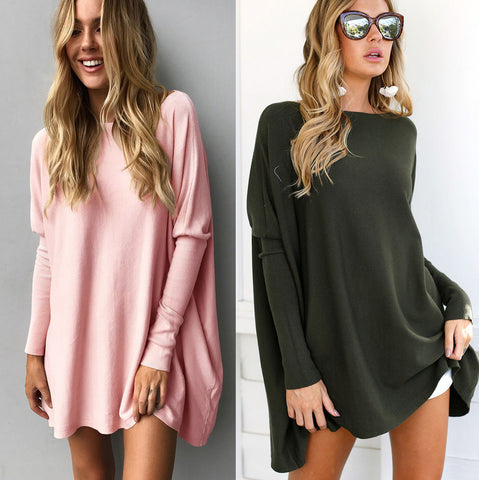 Casual Women Long Tops Autumn and Winter Long Sleeve Loose Blouse
