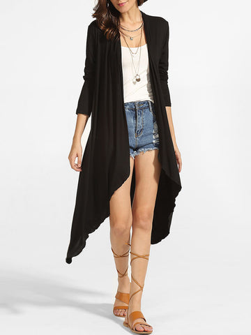 Casual Asymmetrical Hems Collarless Plain Cardigan