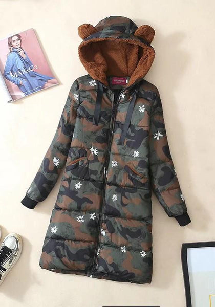 Green Camouflage Bear Ear Pockets Drawstring Hooded Fashion Winter Warm Long Coats