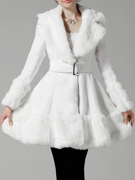 Patchwork Plain Fur Collar Elegant Overcoats - Bychicstyle.com