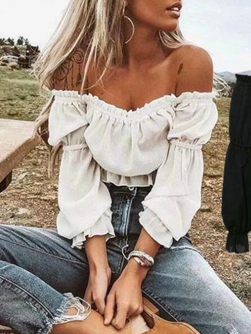 Off Shoulder Falbala Solid Fresh Shirt Top