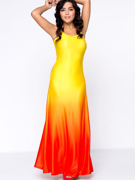 Gradient Sparkling Spaghetti Strap Maxi Dress - Bychicstyle.com