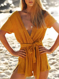 ByChicStyle 4 Colors Deep V-Neck Bandage Romper