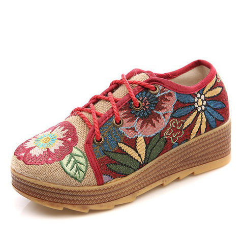 Casual Embroidered Flower Platform Lace Up Folkways Casual Shoes
