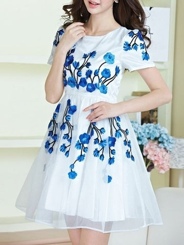 Casual Appealing Round Neck Embroidery Skater-dress