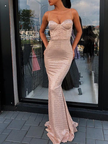 Khaki Striped Sequin Mermaid Homecoming Party Spaghetti Strap Backless Christmas New Year Elegant Maxi Dress