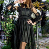 ByChicStyle Black Grenadine Ruffle Lace Appliques Vegas Sweet Party Midi Dress