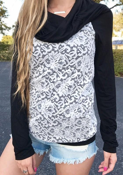 Black Patchwork Lace Collarless Casual Pullover Sweatshirt
