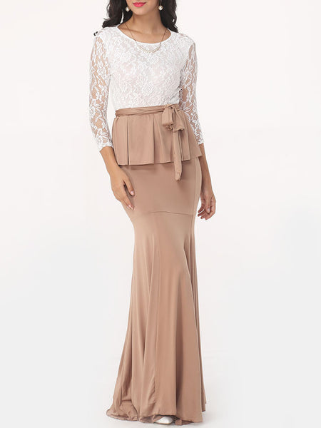 Casual Elegant Dacron Hollow Out Lace Top And Package Hip Plain Skirt