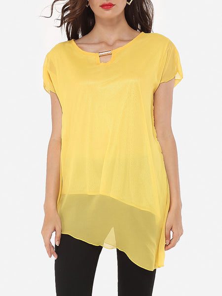 Casual Round Neck Dacron Hollow Out Plain Blouse