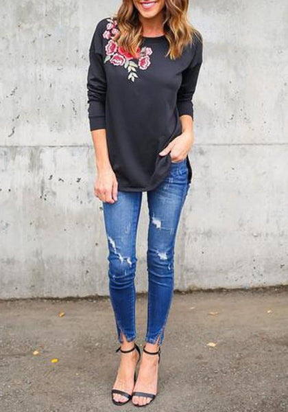 Black Flowers Embroidery Round Neck Long Sleeve Oversized Casual T-Shirt