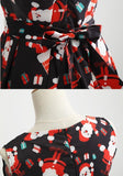 ByChicStyle Black Christmas Floral Bow Zipper Pleated A Type Vintage Midi Dress