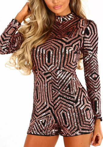 Golden Patchwork Sequin Sewing High Waisted Fashion Short Jumpsuit