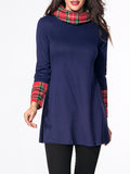 ByChicStyle Turtleneck Patchwork Plaid Long-sleeve-t-shirt - Bychicstyle.com