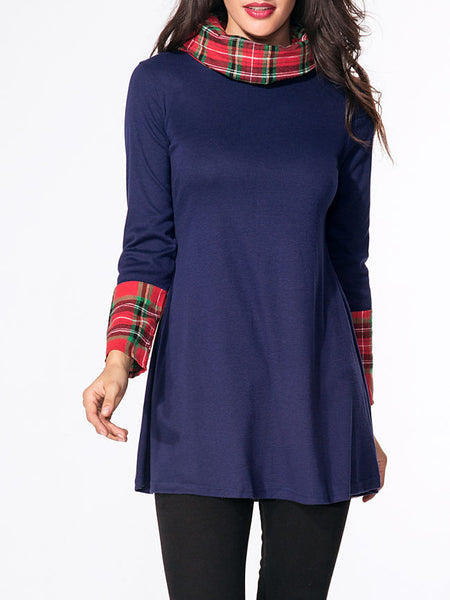Turtleneck Patchwork Plaid Long-sleeve-t-shirt - Bychicstyle.com