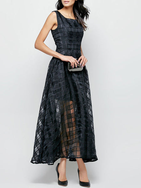 Casual Plaid Hollow Out Pocket Round Neck Maxi Dress