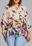 ByChicStyle White Colorful Print Round Neck Casual T-Shirt
