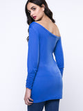 ByChicStyle Longline One Shoulder Plain Long Sleeve T-Shirt - Bychicstyle.com