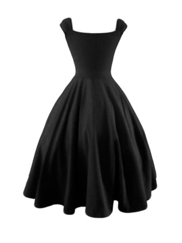Casual Plain Sweet Heart Neck Skater Dress