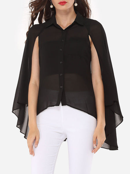Casual Plain Cape Sleeve Elegant Button Down Collar Blouse