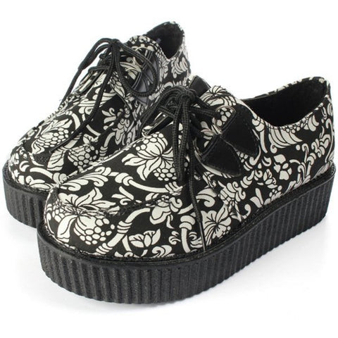 Casual Canvas Black And White Print Flower Platform Shoes