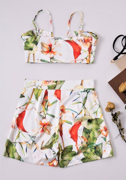 Green Flowers 2-in-1 Print Bow Cute Sleeveless Short Jumpsuit