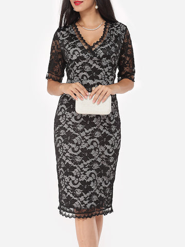 Casual V-Neck Hollow Out Lace Cocktail Dress