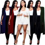 ByChicStyle Women Cloak Cape Long Blazer Coat Fashion 5 Colors Personality Notched Neck Lapel Split Jacket Suits