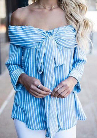 Blue Striped Bow Bandeau Off-Shoulder Long Sleeve Blouse