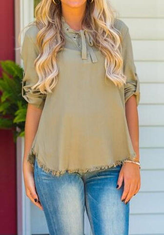 Army Green Patchwork Draped Round Neck Long Sleeve Blouse