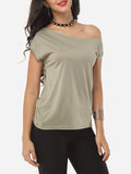 ByChicStyle Casual Plain Delightful One Shoulder Casual-t-shirt