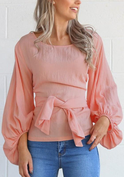 Pink Drawstring Round Neck Long Sleeve Fashion Dacron Blouse