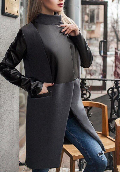 Black Patchwork Pockets PU Leather Band Collar Long Sleeve Wool Coat