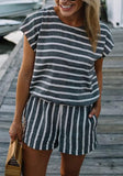 ByChicStyle Black-White Striped Pockets Two Piece Casual Going out Short Jumpsuit