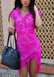 ByChicStyle Rose Carmine Patchwork Lace Irregular Short Sleeve Fashion Midi Dress