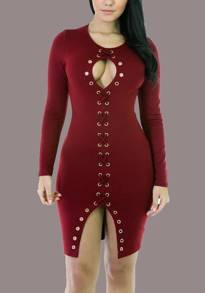 Burgundy Cut Out Lace-up Front Slit Clubwear Party Long Sleeve Midi Dress