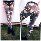 ByChicStyle Army Green Camouflage Buttons Elastic Waist Casual Long Leggings