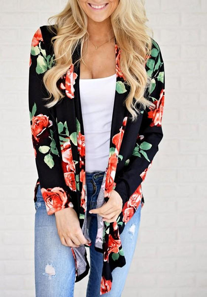 Black Floral Irregular Long Sleeve Casual Cotton Coat